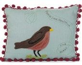 Embroidered Bird Pillow: Robin on Blue