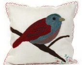 Needlefelt Bird Pillow: Sweetheart Bird Hankie Pillow