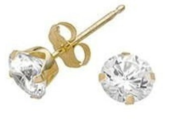 Crystal Stud Earrings Goldplated with Surgical Steel posts Medium size (4mm)