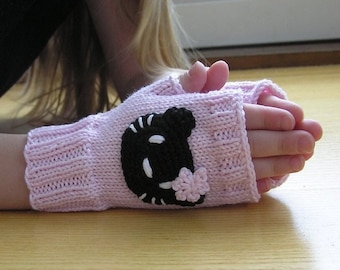 Kids Fingerless Gloves in Pink and Black, Kitty Mittens, 100% cotton, Arm Warmers