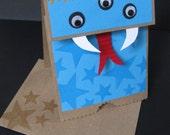 Childrens Birthday Card - Little Monster Paper Bag Puppet Card