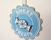 Baby Blue Tags - Pastel Treat Tags - Set of 10 Prestrung Gift Tags
