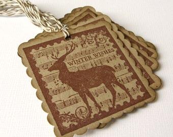 Reindeer Tags, Christmas Gift Tags, Rustic Reindeer Tags, Rustic Christmas Packaging, Holiday Gift Wrap, Gift Tags, Simple Christmas, Tags