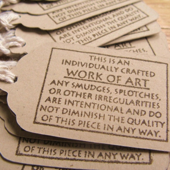 Work of Art - Hand Stamped - Tags or Labels, Set of 15