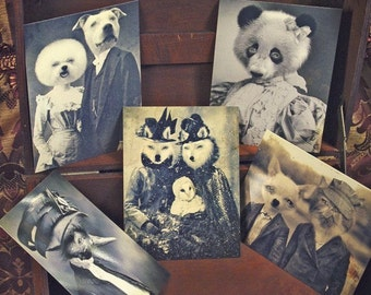 Set of 5 original Postcards - Mini Print Set N1 - anthropomorphic portrait black white panda bear cat chihuahua dogs wolf owl poodle