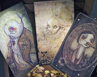 Three originals prints - portraits - 8.7 x 5.5 print  -  once upon a time  fairy tale whale princess