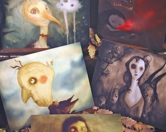 Set of 5 original Postcards - STRANGE FRIENDS - Mini Print Set - fairy tale magical creatures freak imaginary friend monsters magic forest