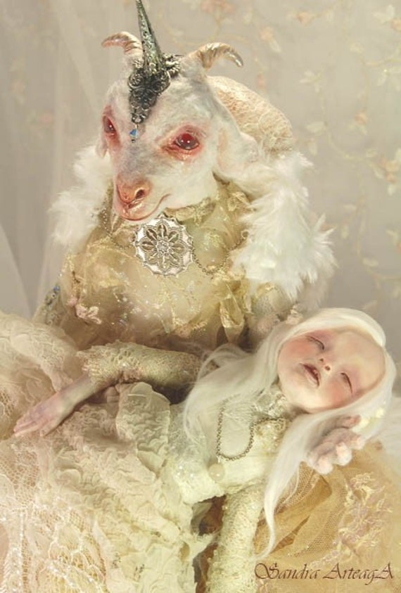Christmas SALE - Lillith and Eva  ART DOLL ooak fantasy tale goat fairies fairy  white