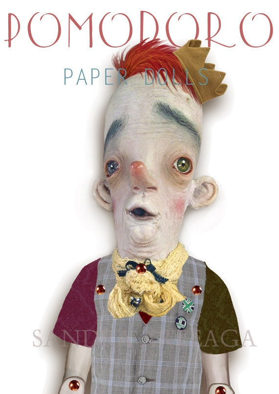 Pomodoro  - articulated PAPER DOLL -  15.2  inches - paper toy clown circus ring art doll prince freak stripes monkey master ring