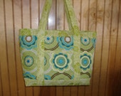 lime green,turquoise,brown,white quilted with lite and dark lime green trim