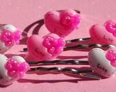 6 pc Love Heart Rings Hair Bobby Pins Pink Spank Fairy Kei Hime Harajuku Kandi Raver Rave Sweet Lolita Scene Scenester Charm Jewelry