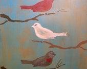 Love Birds- bird painting on handmade wood frame
