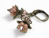 Vintage Style, Flower Earrings, Rose Gold Topaz