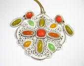 Mod, 1960s, Vintage Jewelry Set, Pendant Necklace, Earrings