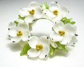 Vintage, 1940s, White, Dogwood, Brooch, Earrings