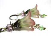 Wine, Peridot, Green, Hand Dyed, Lucite, Flower Earrings