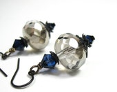Vintage Style Dangle Earrings, Platinum, Indigo Blue, Swarovski Earrings, Czech Glass Rondelles, For Her, Sparkling Jewelry, Accessories