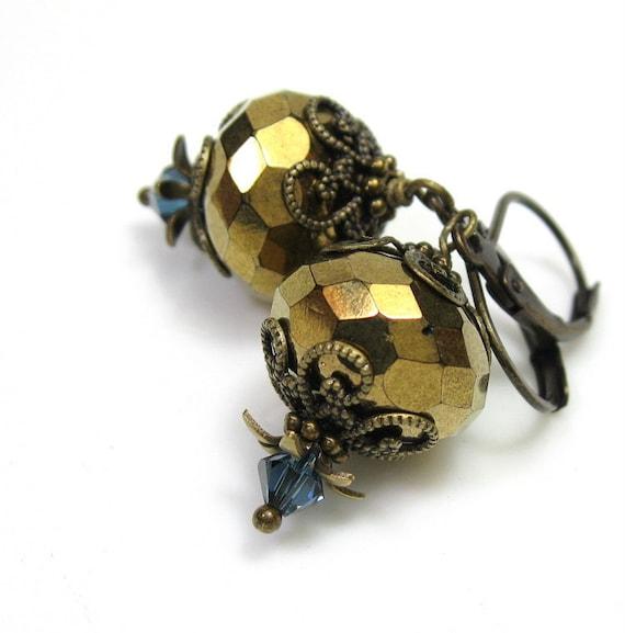 Vintage Style Earrings, Bronze, Gold, Blue, Swarovski Crystal, Czech Glass, Sparkle, Dazzle, Formal Wear, For Her, Under 25, Glitz, Glamor