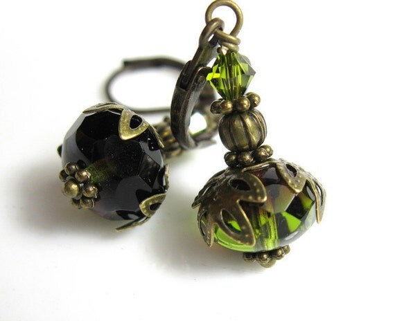 Olive Green Vintage Style Czech Glass and Swarovski Beaded Dangle Fashion Earrings Vintage Style Jewelry Gifts for Women