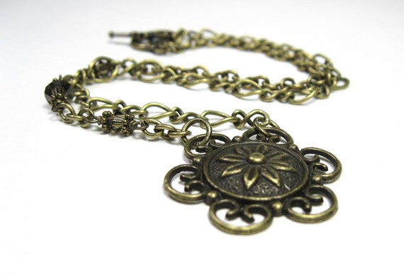 Vintage Style Choker, Smoky Quartz Swarovski, Metal Necklace, Antiqued Brass