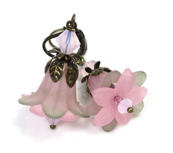 Vintage Style Flower Earrings, Pink, Grey, Lucite, Swarovski