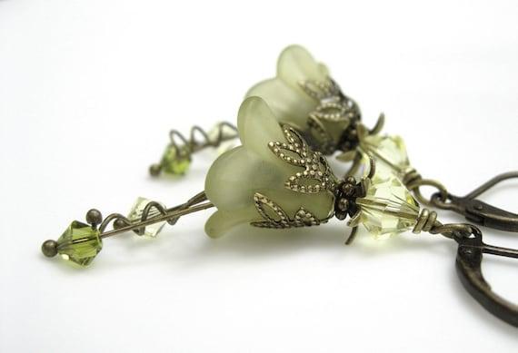 Light Olivine, Flower Earrings, Swarovkski, Lucite, Brass