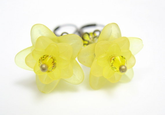 Citrine Yellow, Swarovski, Lucite, Flower Earrings