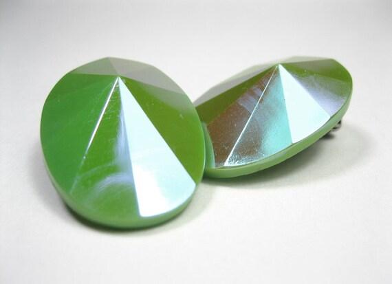 Retro, Vintage, Iridescent, Lime, Green, Acrylic, Earrings