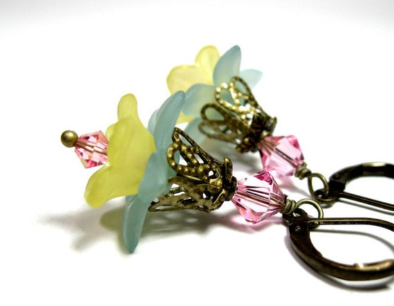 Pink Yellow Blue Vintage Style Flower Earrings, Colorful Jewelry, Pastel, Baby Blue Spring Flowers, For Her, Gift Ideas for Women