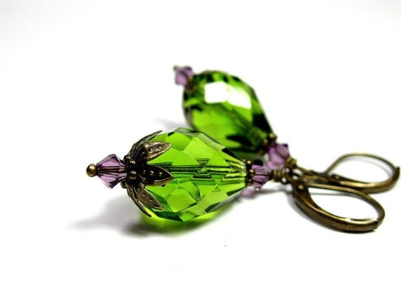 Green and Lilac Vintage Style Earrings, Czech Glass Jewelry, Womens Accessories, Gifts for Her, Dangle Earrings, Teardrops, Swarovski