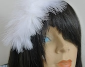 Marabou Trimmed Bridal Veil Reversible Headband Rhinestone Feathers