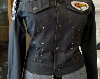 Vintage Denim Jacket Ladies Jean Jacket Patches Studs