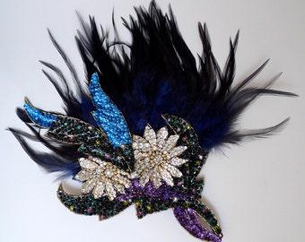 Crystal Feather Fascinator Black Blue Purple Silver Swarovski Sequins Multi Colour