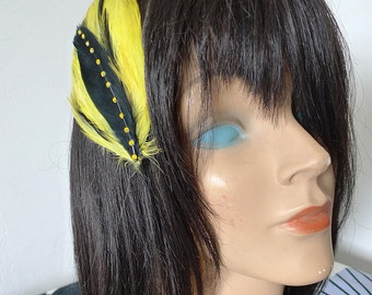 Yellow Black Fascinator Gold and Jet Hackle Hair Accessory