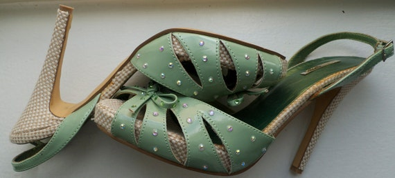 Mint Green Heels Sparkly Patent Bow Burlesque Shoes Swarovski Crystals