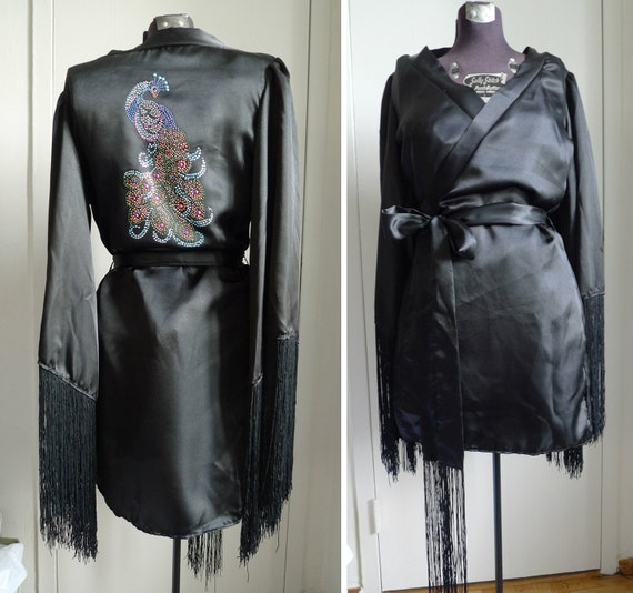Black Peacock Robe Satin Fringed Burlesque Costume Cover Up