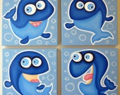 4 SiLLy wHALeS - set of 4 10x10 original paintings on canvas, FREE SHIPPING, fish room decor, fish art