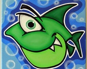 gREEN FiSH - 12x12 original acrylic painting on canvas for baby or kids, fish art, fish painting