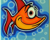 oRANgE FiSH - 12x12 original acrylic painting on canvas for baby or kids, fish art, fish painting