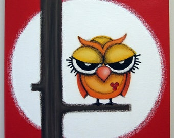 sOOOO mAd - 12x12 original acrylic painting, owl painting, owl wall art, owl room decor