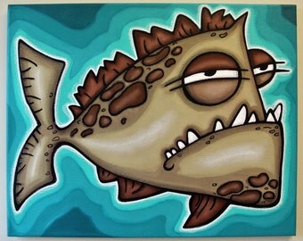uGLY FiSH -16x20 original acrylic painting on canvas, FREE SHIPPING, art for boys