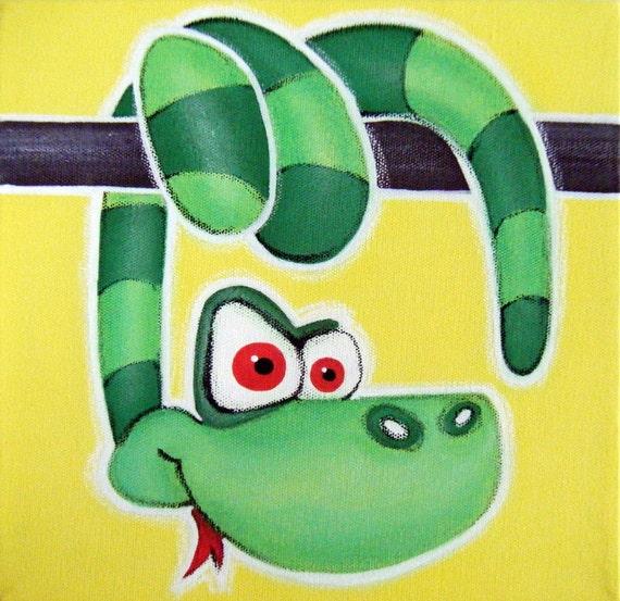 Sssssssssnake 12x12 Original Acrylic Painting Snake Wall
