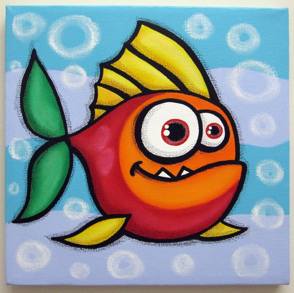 Funny Fish No3 12x12 Original Acrylic Painting On Canvas