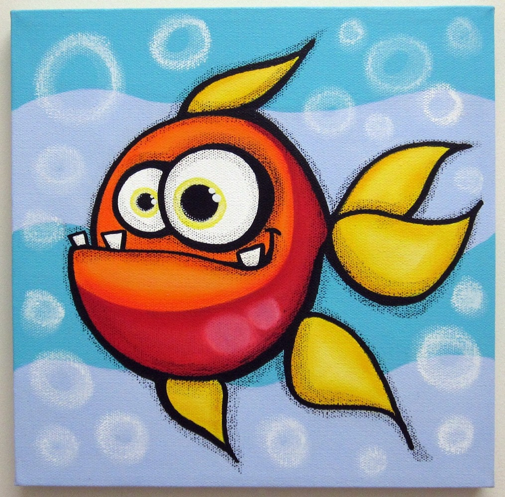 Funny fish 12x12 original acrylic painting on canvas fish for Easy fish painting