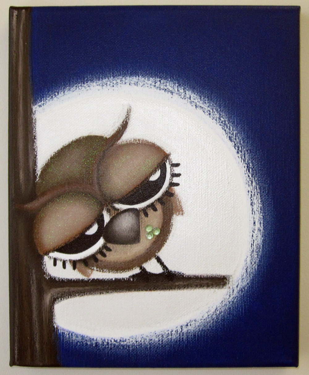 sLeePy oWL 8x10 original painting on canvas by art4barewalls - photo#33