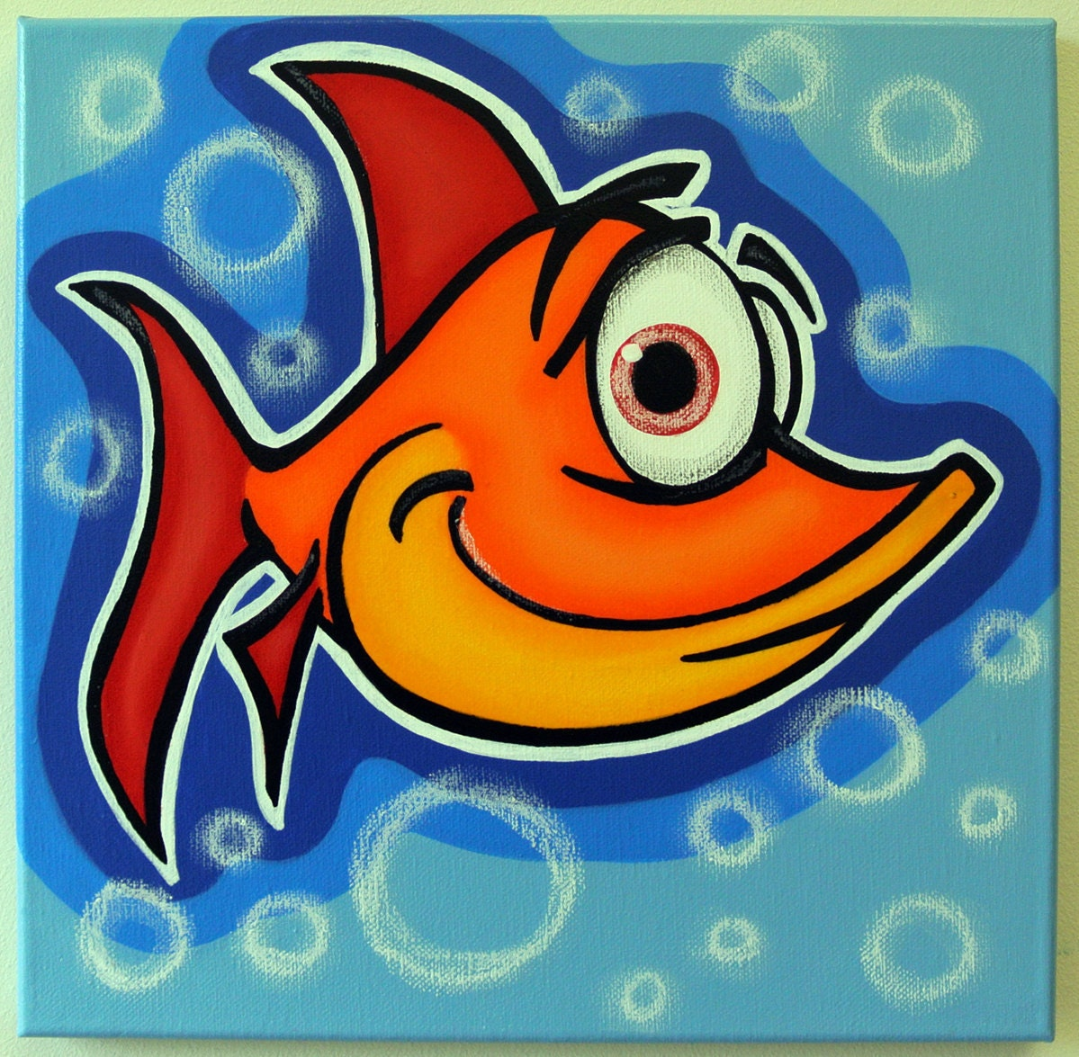 Orange fish 12x12 original acrylic painting on canvas for for Easy fish painting