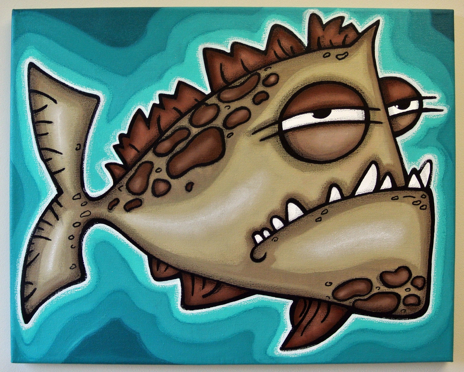 Ugly fish 16x20 original acrylic painting on canvas free for Ugly fish pictures