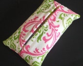 FREE SHIPPING- Pocket Size Tissue Holder- Travel Tissue in Pink and Green Traditions Madison Damask