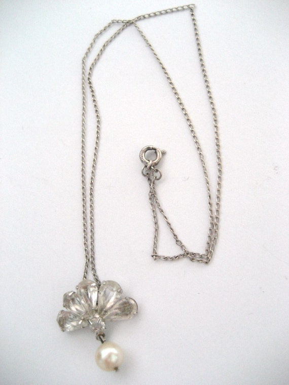 Vintage sterling 15 inch necklace with rhinestones and pearl