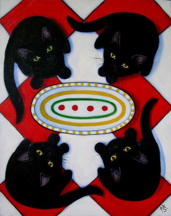 Commission an original oil painting of YOUR FOUR Hungry Cats